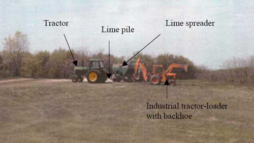 Figure 1. Overview of incident scene showing industrial loader on slight decline, location of lime pile, tractor and spreader.
