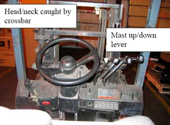 Figure 2. View of forklift controls from operator's seat