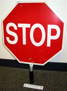 Photo 1. Stop-sign paddle used by the victim.