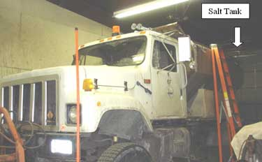 Photo 1. The salt truck that was involved in the incident.