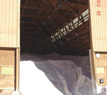 Photo 5. The entrance to the salt shed where the victim parked his truck at the time of the incident.