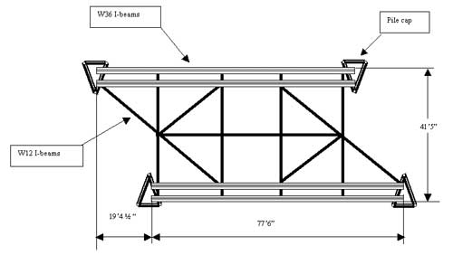 Figure 2. Overhead depiction of the third span of the temporary under-bridge.
