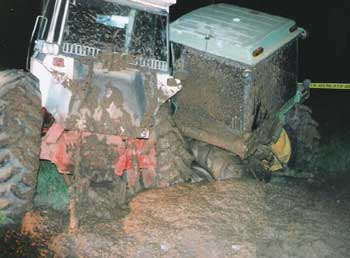 Figure 3. Rear view of the tractors after the collision occurred.