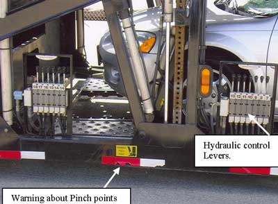 Figure 2. Hydraulic Control Levers used to operate the platform ramp.