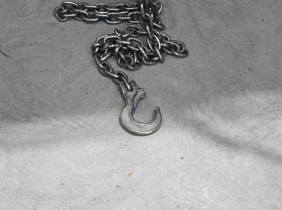 Exhibit 3. A picture of the chain sling that was used to lift the steel frame from a horizontal position to a vertical position.