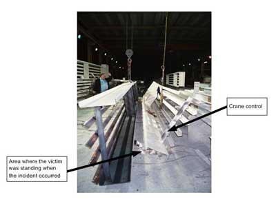 Exhibit 6. A picture showing the area where the victim was standing and the crane control that the victim used to lift the steel frame.