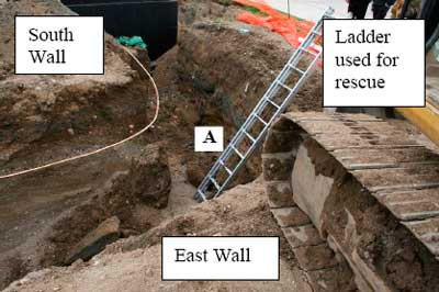 Decedent's location near north wall in trench