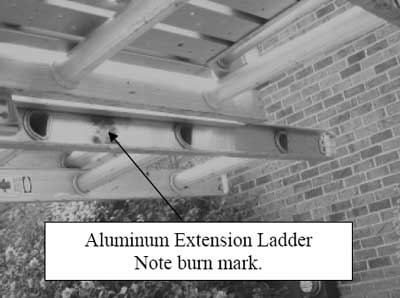 Aluminum Extension Ladder with burn marks