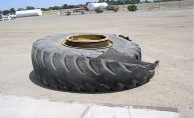 tire and wheel assembly after the explosion