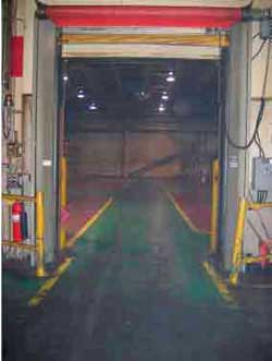 Overhead door near loading dock platform