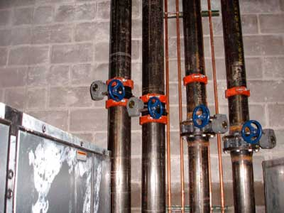 Valves in lines in Second Floor Mechanical Room