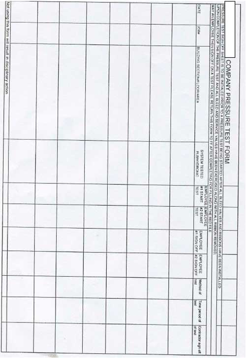 Company Pressure Test Form