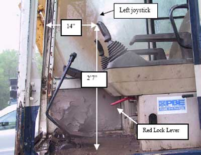 Photo 2. The left joystick and the red lock lever inside the excavator cabin.