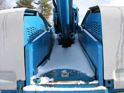 close up of boom lift hydraulic arm