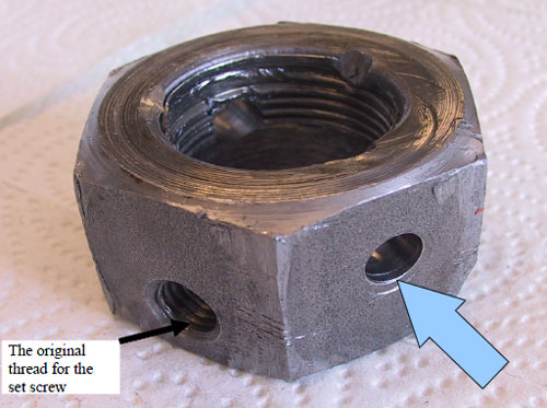 Photo 5. The hex nut was drilled through so that a bolt can be inserted to hold the rod and the nut together.