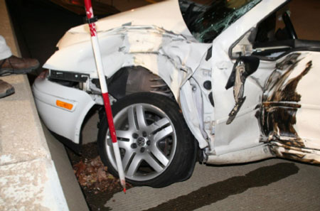 Photograph of car involved in crash.
