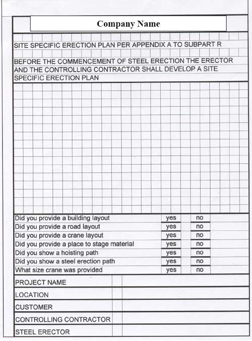 Site specific erection plan form