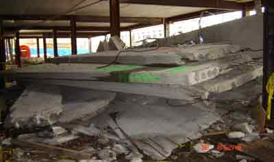 Pile of collapsed floors