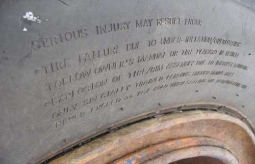 warning on the side of tire