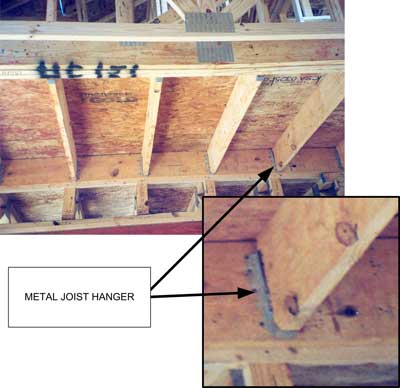 Metal joist hangers on another house under construction at the site.