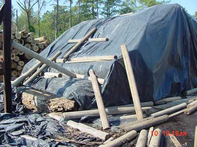 Stack of logs covered by a tarp