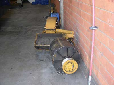 discharge chute and drum from brush chipper