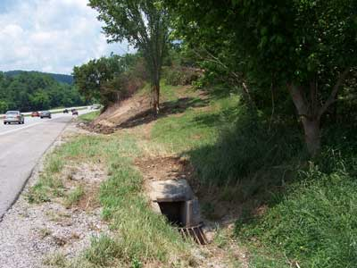 culvert off the side of the road
