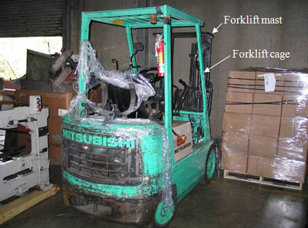 Forklift involved in the incident.