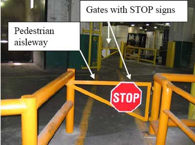 Gates with stop signs and pedestrian aisleway