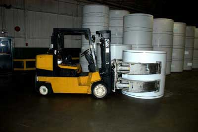 forklift with paper roll