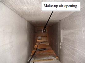 Figure 8. Chase A openings as seen from the basement, facing east.