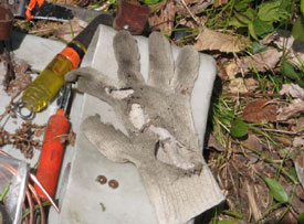 Right hand cotton glove after electrical contact