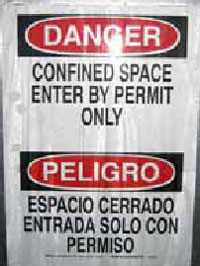 Figure 7. Close-up of Confined Space sign shown in Figures 5 & 6 .