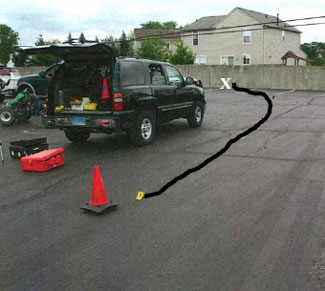 Figure 3. Path of ATV as decedent slowed and attempted to turn north into parking area to the east of the building.