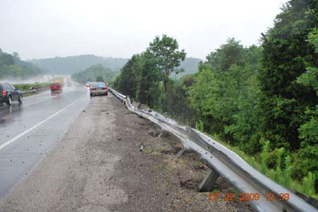 Location where semi tractor-trailer driver drove off of interstate into ravine. Photograph courtesy of local official.