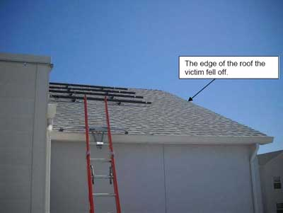 arrow pointing to edge of roof.