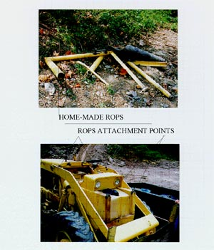 two images showing the  homemade ROPS and attachment points