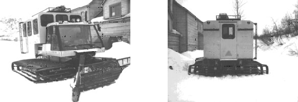 front oblique and rear view of snow cat