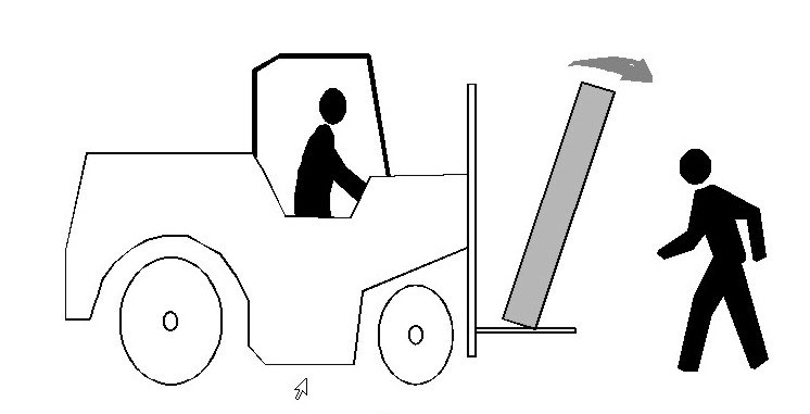 illustration of crate of glass falling from forklift truck
