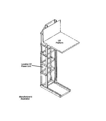 Graphic of a vertical lift conveyor in an upright position