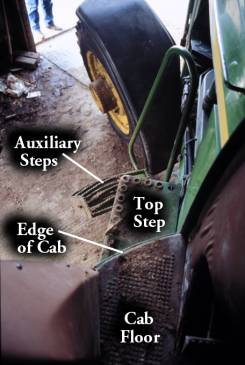 photo of the steps from the tractor cab