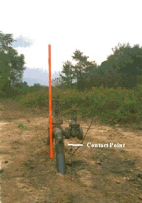 photo of the aboveground valve showing point of contact with tractor