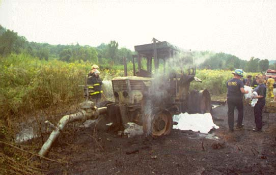 photo of the tractor after the fire was extinguished