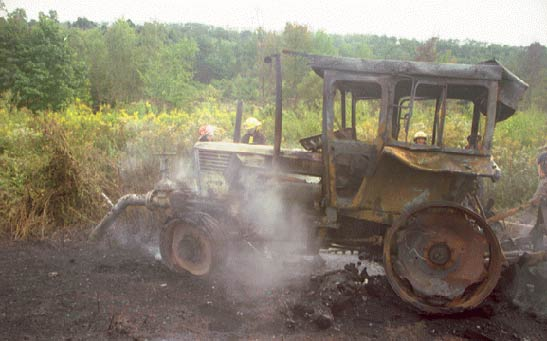 photo of the burnt tractor