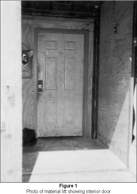 photo of material lift showing interior door
