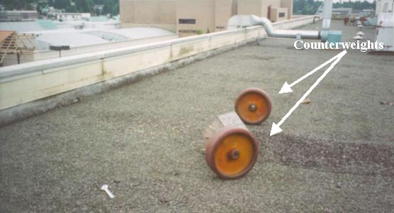 Figure 3.  Roof top from where victim fell and counterweights.