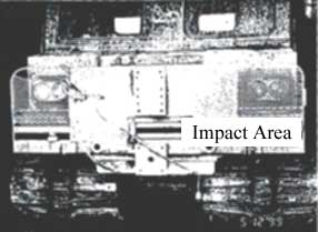 impact area on debris guard transport vehicle