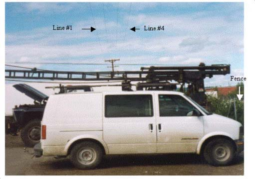 location of van and drill rig under overhead power lines