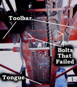 Photo of tongue of the corn planter showing the bolts that failed