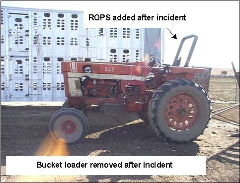 The tractor involved in the incident, post retrofitting with a ROPS and removal of the bucket loader